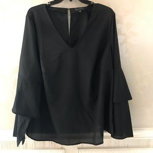 Eloquii 16 layered bell sleeve crepe lined blouse